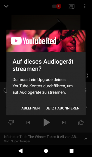 Aus der kostenlosen Version von Youtube Music kann kein Google-Assistant-Lautsprecher angesprochen werden. (Screenshot: Golem.de)