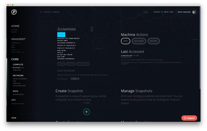 In der Konsole von Paperspace können wir unseren Cloud-Spielerechner verwalten.  (Bild: Moritz Stückler)