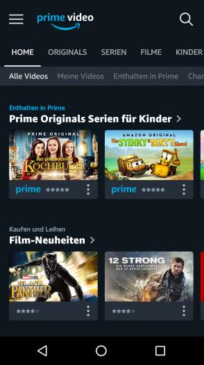 Neue Prime-Video-App auf einem Android-Smartphone mit anderem Cover-Format und anderer Prime-Markierung (Bild: Amazon/Screenshot: Golem.de)
