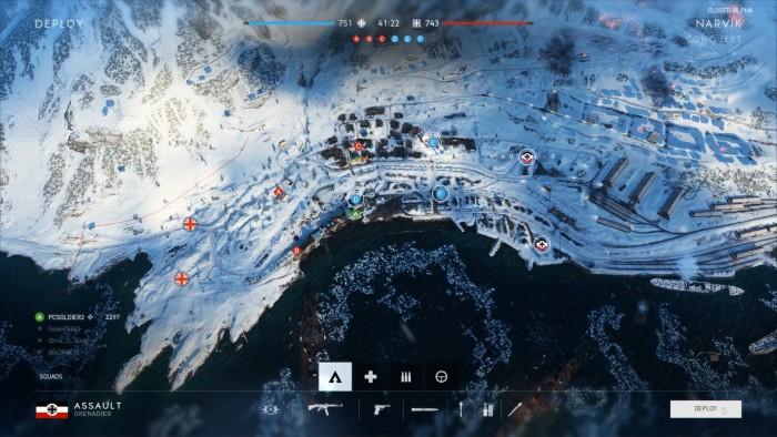 Die Karte in Narvik ist eher klein und bietet zwei Kampfzentren in den Stadt und am Hafen. (Dice/Screenshot: Golem.de)