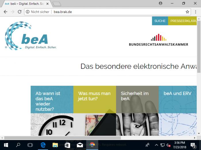 """Das Besondere Elektronische Anwaltspostfach soll bald wieder online gehen, aber ist es auch sicher? Zumindest auf der Webseite heißt es ab heute """"Nicht sicher"""". (Bild: Bea/Screenshot: Golem.de)"""