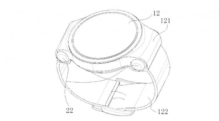 Bei diesem Smartwatch-Patent von Huawei befinden sich die Schächte für die Bluetooth-Ohrstöpsel zwischen Uhrengehäuse und Armband. (Bild: Wipo)
