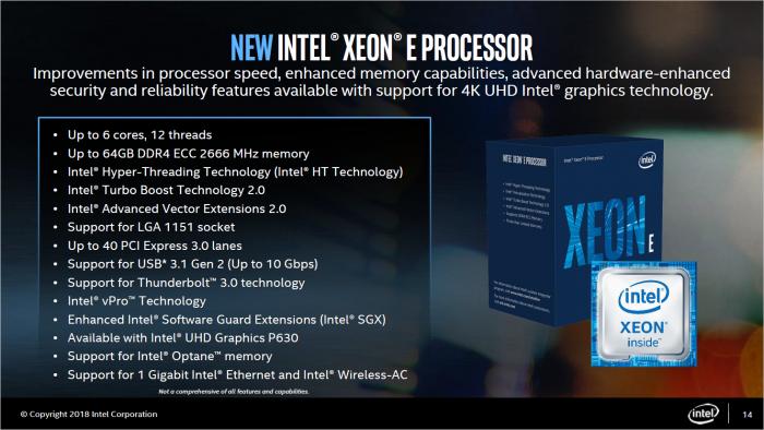 Überblick zu den Xeon E-2100 (Bild: Intel)