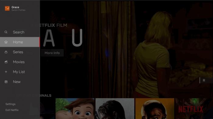 Das Seitenmenü ist neu in der Netflix-App auf Fernsehern. (Bild: Netflix)