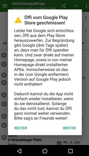 Öffi-App weist Kunden auf die aktuellen Probleme hin. (Bild: Andreas Schildbach/Screenshot: Golem.de)