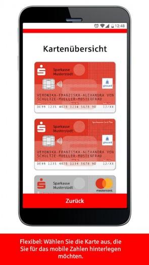 """In der App """"Mobiles Bezahlen"""" können Nutzer aussuchen, welche Karte sie für das kontaktlose Zahlen verwenden wollen. (Bild: Google)"""