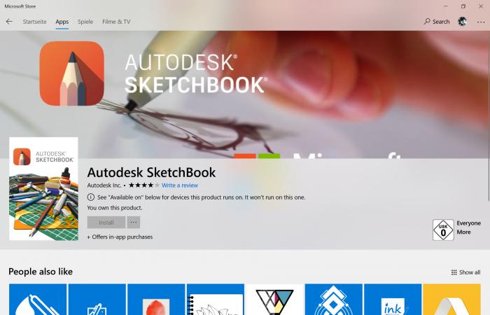 Sketchbook ist im Store verfügbar, aber inkompatibel. (Screenshot: Golem.de)