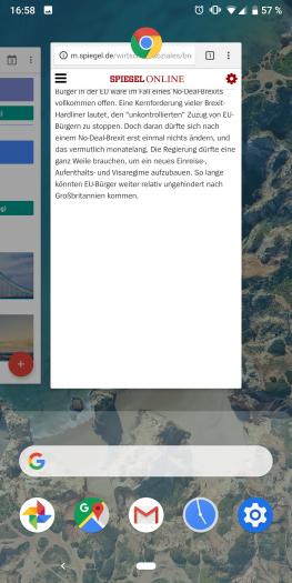 Die Übersicht der zuletzt genutzten Apps hat Google neu gestaltet. (Screenshot: Golem.de)