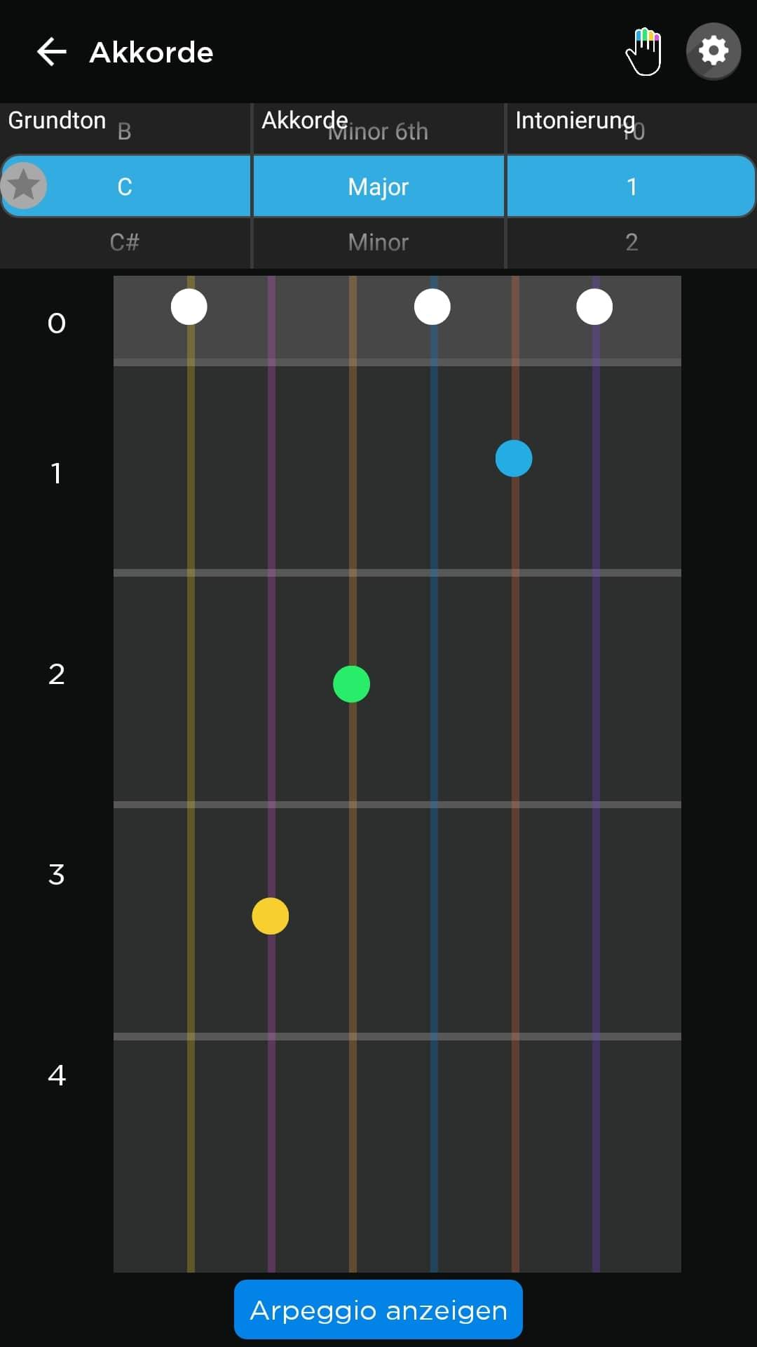 Fret Zealot im Test: Lernen mit Lichteffekten - Das Griffbild wird in der App angezeigt.(Bild: Alexander Merz/Golem.de)