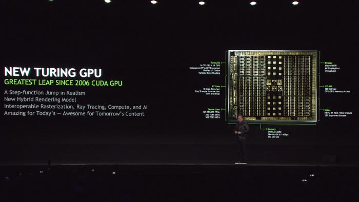 Jensen Huang stellt Turing vor. (Bild: Nvidia)