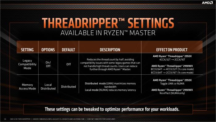 Für eine bessere Leistung sind bei den Threadrippern die Die-Anzahl und die Channel-Priorisierung justierbar. (Bild: AMD)