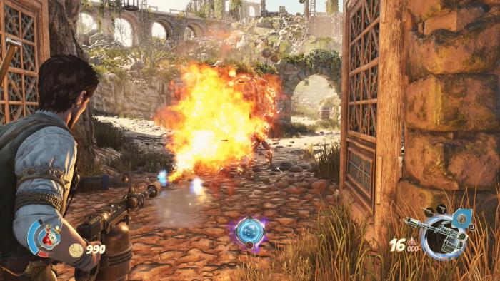 Mit dem Flammenwerfer grillen wir einen Riesenskorpion. (Bild: Rebellion/Screenshot: Golem.de)