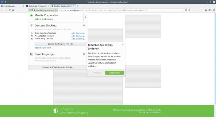 Mozilla führt in die neuen Optionen zum Trackingschutz ein. (Bild:Mozilla, Screenshot Golem.de)