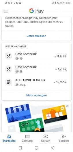 In der Google-Pay-App gibt es eine Übersicht der erfolgten Zahlungen. (Screenshot: Tobias Költzsch/Golem.de)