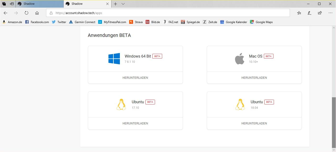 Cloud ausprobiert: Shadow-Streaming mit Matrix-Grusel - Auch einige Beta-Versionen stehen bei Shadow zum Download bereit. (Bild: Shadow/Screenshot: Golem.de)