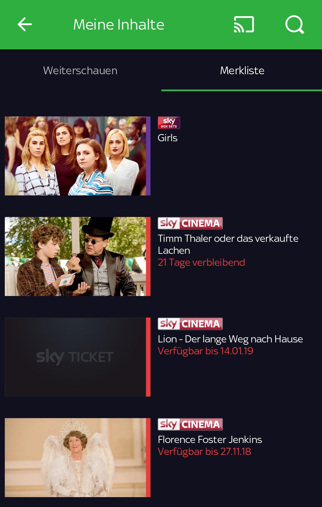 Sky Ticket TV Stick im Test: Sky kann's gut, Netflix und Amazon können es besser - Die Merkliste in Sky Ticket auf dem Smartphone zeigt das Ablaufdatum von Filmen an, nicht aber von Serien. (Screenshot: Golem.de/Sky)