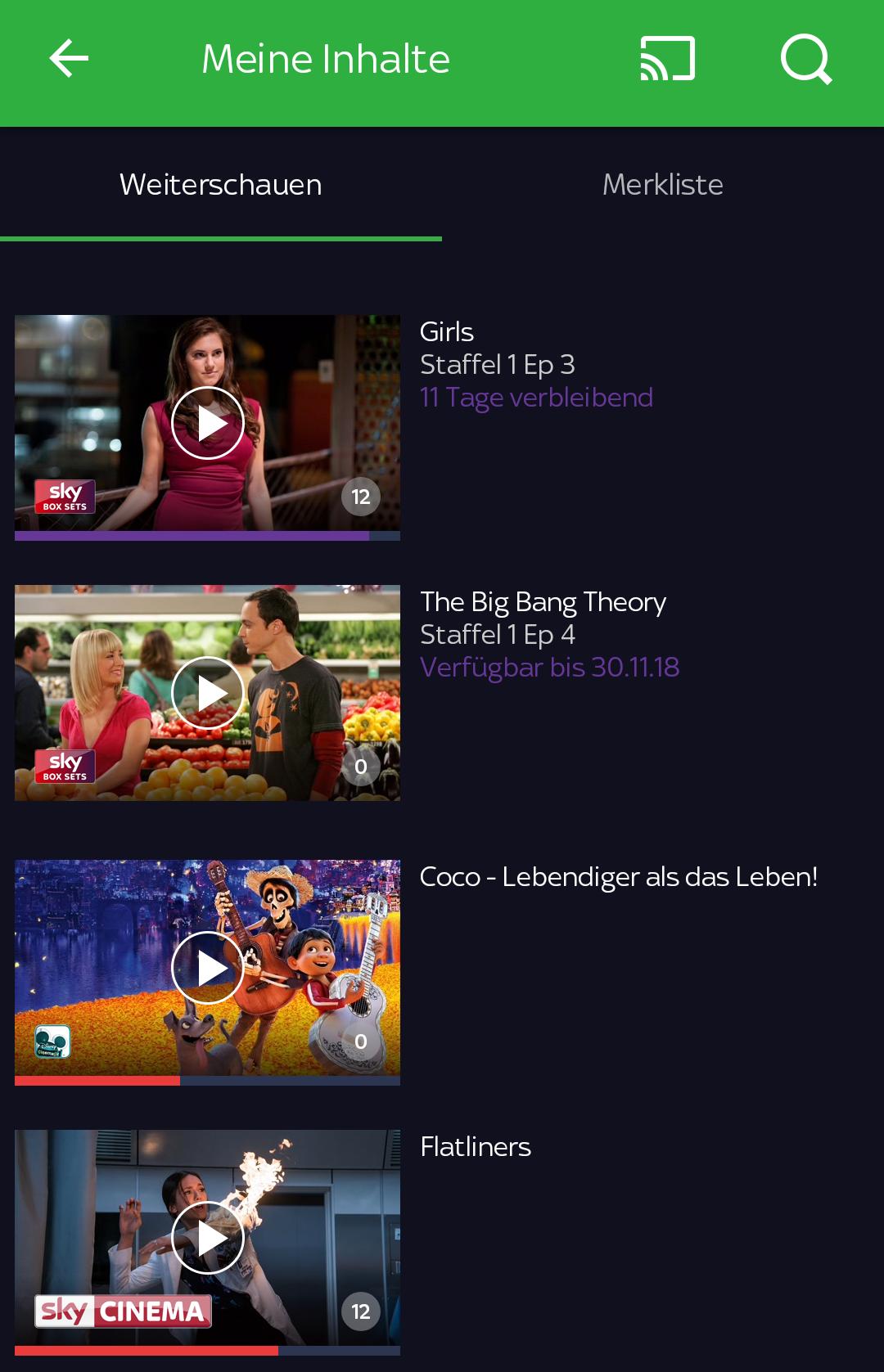 Sky Ticket TV Stick im Test: Sky kann's gut, Netflix und Amazon können es besser - Im Weiterschauenbereich zeigt Sky Ticket auf dem Smartphone alle Ablaufdaten an. (Screenshot: Golem.de/Sky)