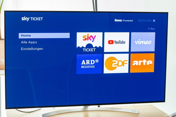 Der Startbildschirm des Sky Ticket TV Stick - von hier aus muss erst noch die Sky-Ticket-App gestartet werden. (Bild: Christoph Böschow/Golem.de)