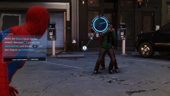 Auf den Straßen von New York greift Spider-Man in eine Entführung ein. (Bild: Sony/Screenshot: Golem.de)