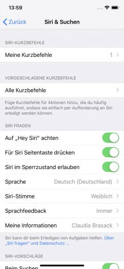 Siri kann bestimmte App-Funktionen jetzt per Kurzbefehl verwenden. (Screenshot: Golem.de)