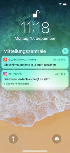 Benachrichtigungen können unter iOS 12 jetzt endlich nach Apps sortiert gesammelt dargestellt werden.(Screenshot: Golem.de)