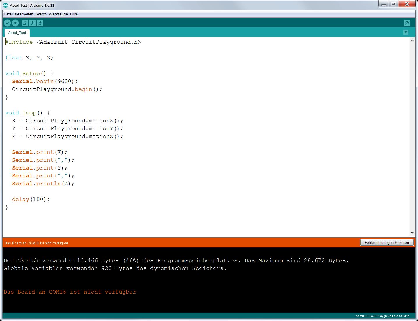 Bewegungssensor auswerten: Mit Wackeln programmieren lernen - Skript in der Arduino IDE (Bild: Thomas Ell)