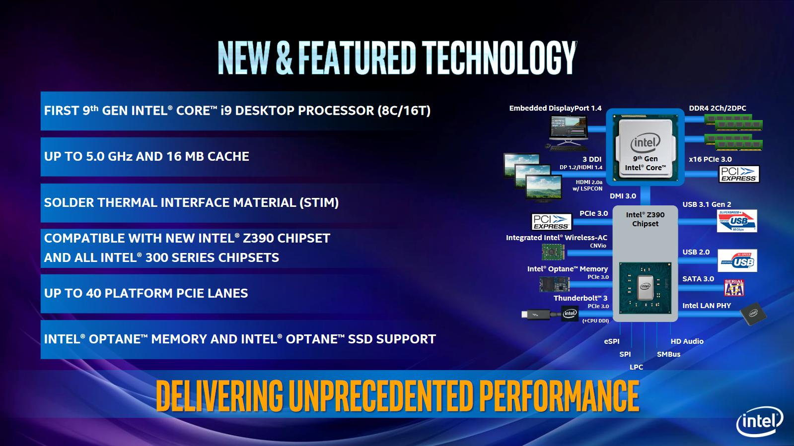 Core i9-9900K im Test: Acht verlötete 5-GHz-Kerne sind extrem - Er wird in 14 nm gefertigt und hat mehr USB 3.1 Gen2 als der B360-Chip. (Bild: Intel)