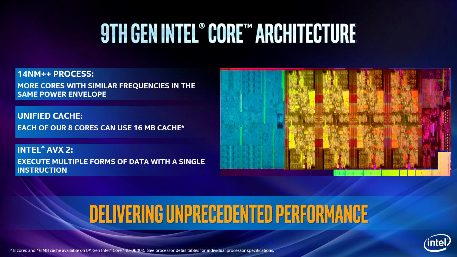Core i9-9900K im Test: Acht verlötete 5-GHz-Kerne sind extrem - Der 9900K wird im 14++ nm genannten Verfahren hergestellt. (Bild: Intel)