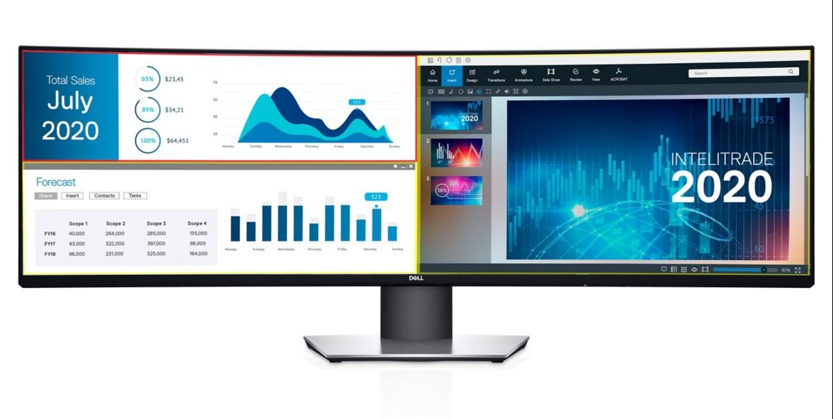Dell UltraSharp 49: Gewölbtes Display mit 1,2 Metern Länge für den Schreibtisch - Dell Ultrasharp 49 (Bild: Dell)