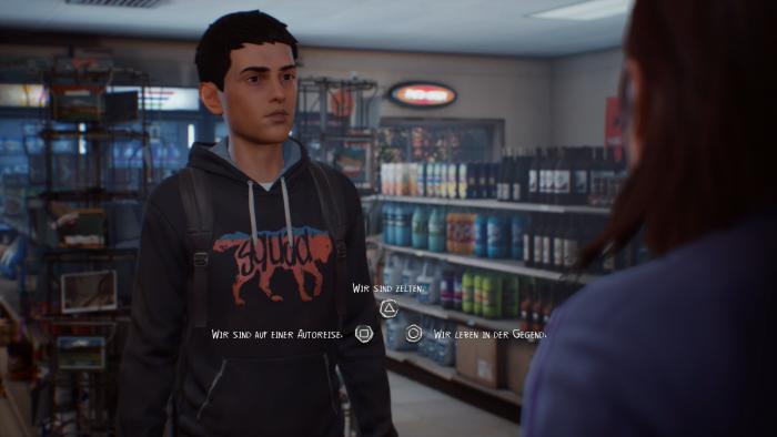 Bei Gesprächen wählen wir als Sean zwischen mehreren Optionen. (Bild: Square Enix/Screenshot: Golem.de)