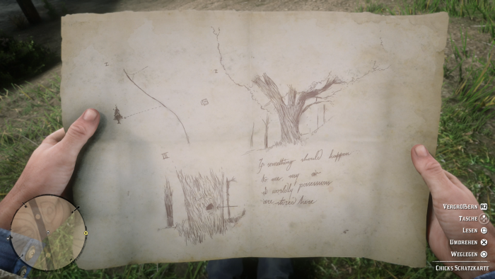 Auf einer Karte ist ein Schatz eingezeichnet - den sich Arthur natürlich schnappt. (Bild: Rockstar Games/Screenshot: Golem.de)