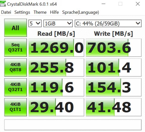 Die SSD liefert typische NVMe-Leistung ab. (Bild: Oliver Nickel/Golem.de)