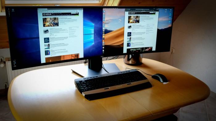 MacOS und Windows können auf dem Ultrasharp 49 Pixel an Pixel kuscheln. (Foto: Michael Wieczorek/Golem.de)