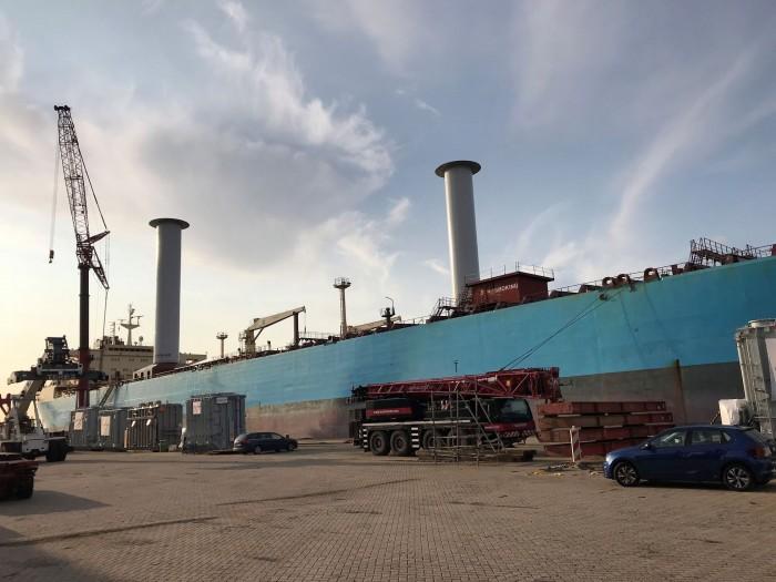 Der Tanker Maersk Pelican ist das dritte Schiff, das Norsepower mit Rotorsails ausstattet. (Bild: Norsepower)