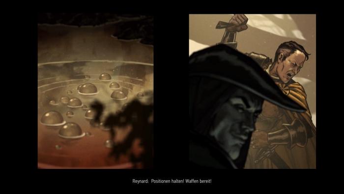 Animierte Bildtafeln wie diese sind der optische Höhepunkt des Spiels. (Bild: CD Projekt RED/Screenshot: Golem.de)