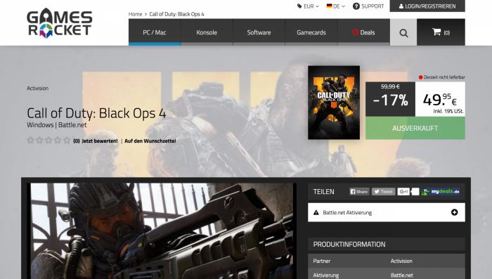 Gamesrocket.de hat seinen Hauptsitz in Deutschland und bietet erstaunlich gute Preise. Die Neuveröffentlichung Call of Duty: Black Ops 4 war zum Testzeitpunkt allerdings ausverkauft. (Quelle: Gamesrocket.de)