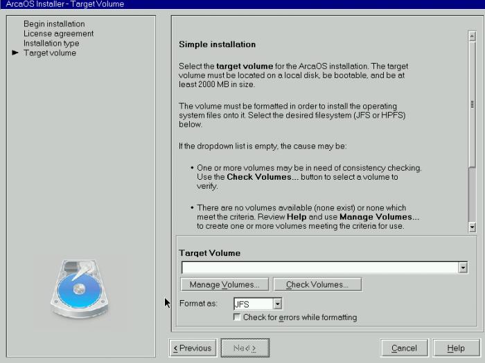 Zunächst muss ein Datenträger für die Installation eingerichtet werden. (Bild: Arca OS/Screenshot: Jörg Thoma)