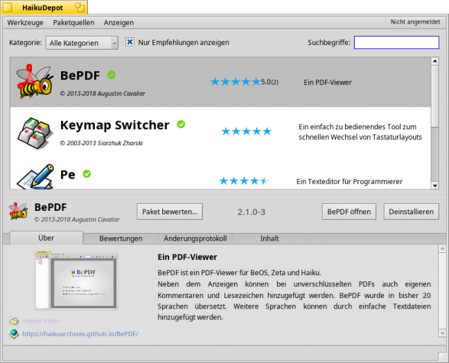 Im Paketmanager lassen sich die einzelnen Anwendungen auch mit Sternen bewerten. (Haiku, Screenshot: Golem.de)