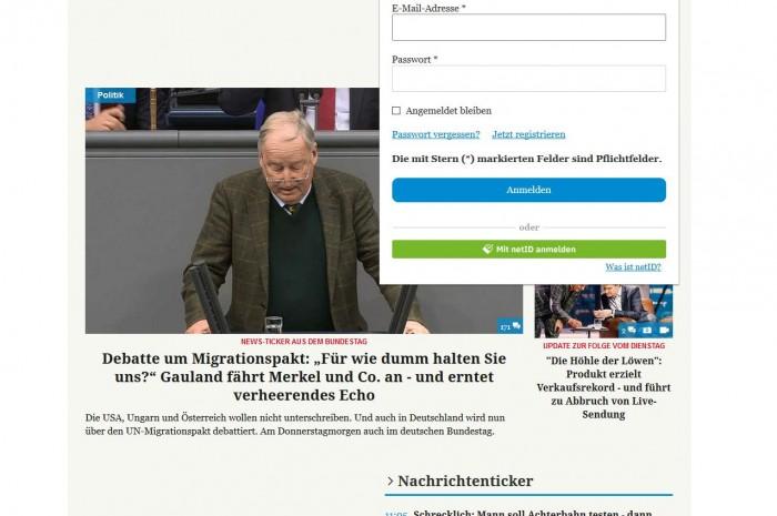 Angebote wie Merkur.de stellen inzwischen ein Login mit NetID zur Verfügung. (Screenshot: Golem.de)