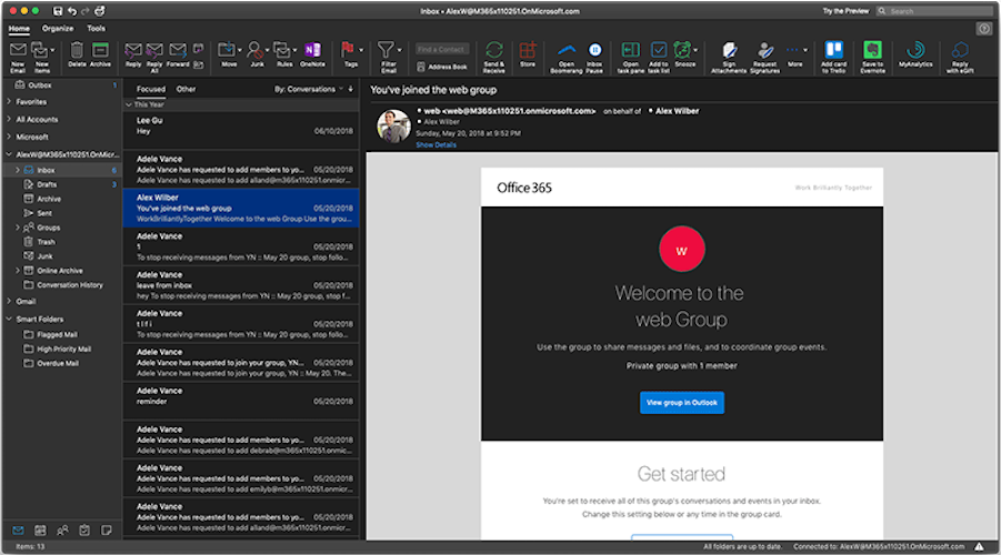 Mac: Outlook erhält Dark Mode - Microsoft Outlook mit Darkmode (Bild: Microsoft)