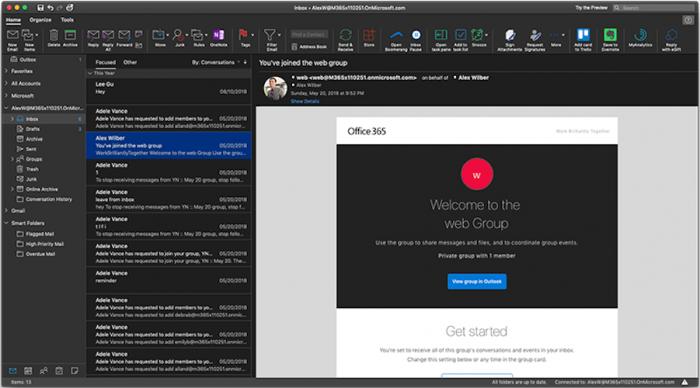 Microsoft Outlook mit Darkmode (Bild: Microsoft)