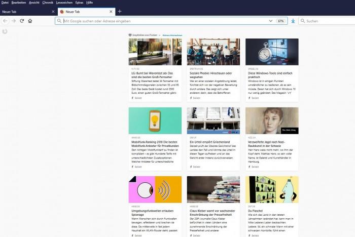 Pocket empfiehlt auf der Seite eines neuen Firefox-Tabs automatisiert Artikel für die Nutzer. (Screenshot: Golem.de)