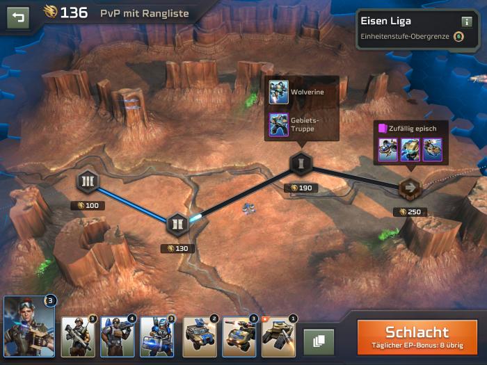 Diese Übersicht ist eine Art Kampagnenkarte - es gibt aber nur PvP-Multiplayerpartien. (Bild: Electronic Arts/Screenshot: Golem.de)