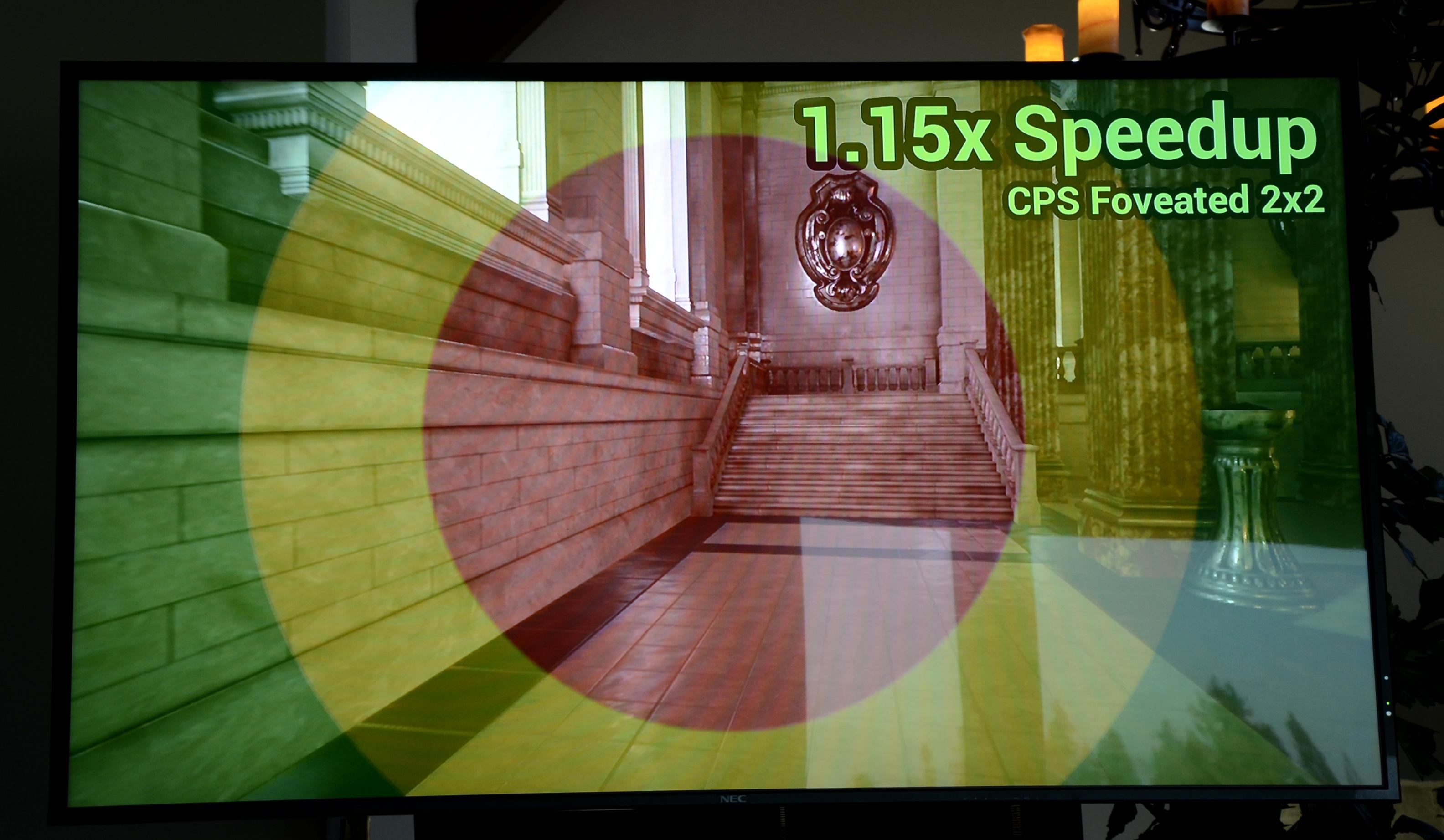 Ice Lake: Intels nächste GPU doppelt so schnell und auf Wunsch ungenau - Die Bildbereiche von CPS - nur im roten Kreis wird alles gerendert. (Bild: Nico Ernst)