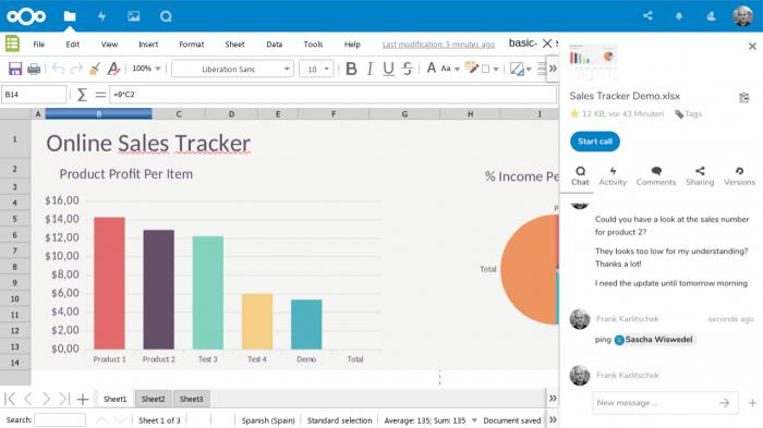 Nextcloud 15 integriert Videochat in die Dokumentenbearbeitung (Quelle: Nextcloud).