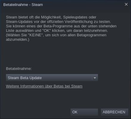 Steam Play und Proton: Wie Valve Windows-Spiele auf Linux bringen will - Diese Einstellung wechselt zur Beta-Fassung des Steam-Clients. (Bild:Screenshot, Golem.de)<br>