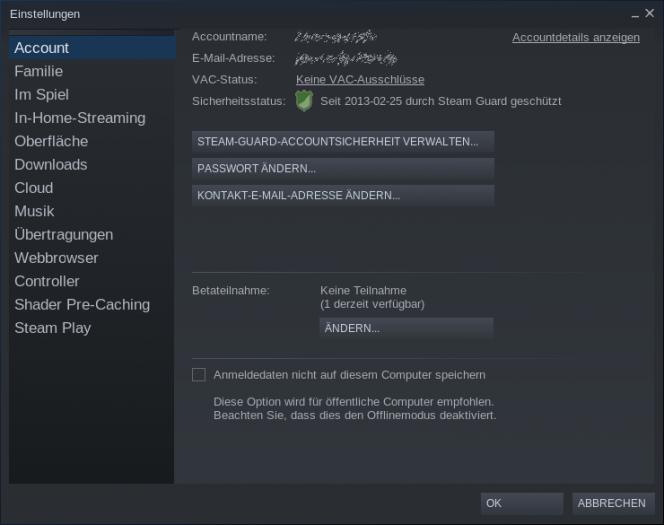 Um Proton nutzen zu können, muss man zunächst in den Einstellungen des Steam-Clients die Betateilnahme aktivieren. (Bild:Screenshot, Golem.de)