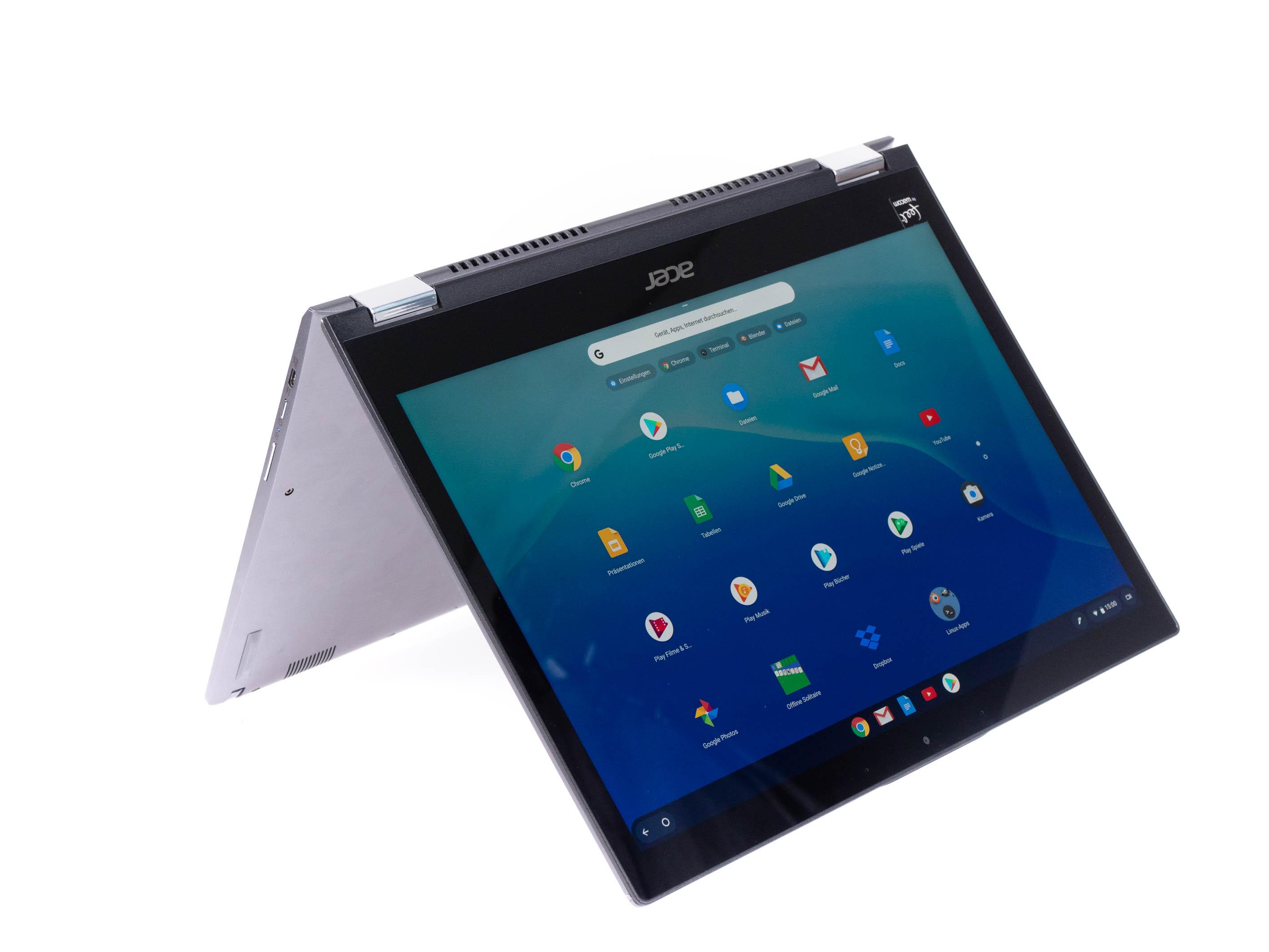 Chromebook Spin 13 im Alltagstest: Tolles Notebook mit Software-Bremse - Das Display des Spin 13 kann um 360 Grad gedreht werden. (Bild: Anna Benavente/Golem.de)