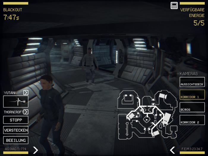 Mit einer Sicherheitskamera verfolgen wir den Weg der Besucher durch die Raumstation. (Bild: D3 Go/Screenshot: Golem.de)