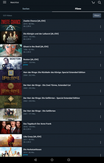 Prime-Video-App für Android mit neu gestalteter Watchlist - Filmbereich (Bild: Amazon/Screenshot: Golem.de)